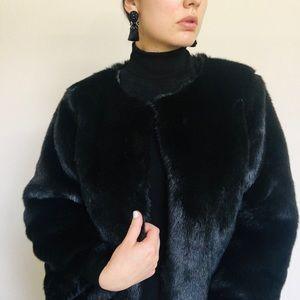Black Faux Fur Coat Top Clasp